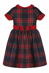 Patachou Girls Woven Plaid Dress w/ Velvet Belt & Collar