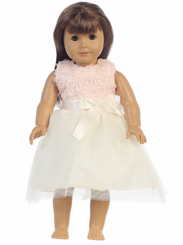"Peach Chiffon Tulle 18"" Doll Dress"