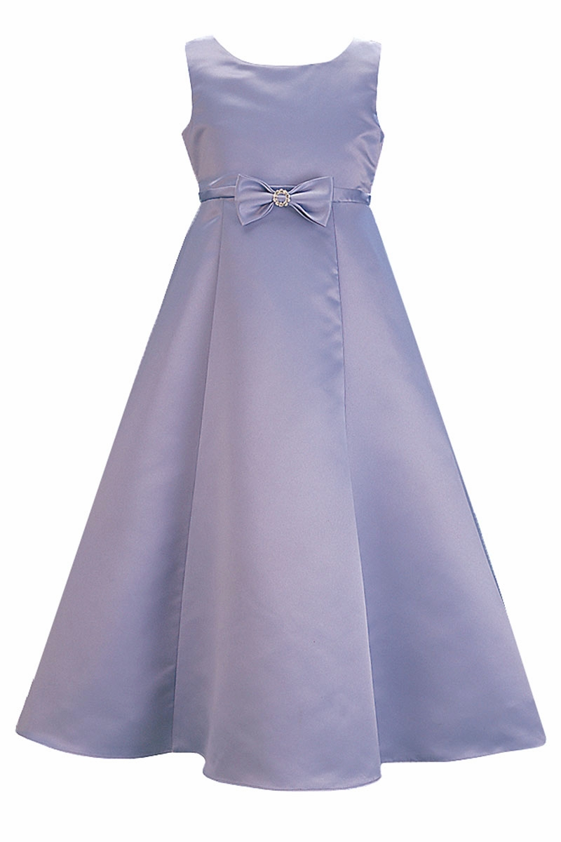 a438c3d18db Periwinkle Satin A-Line Flower Girl Dress