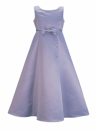Periwinkle Satin A-Line Flower Girl Dress