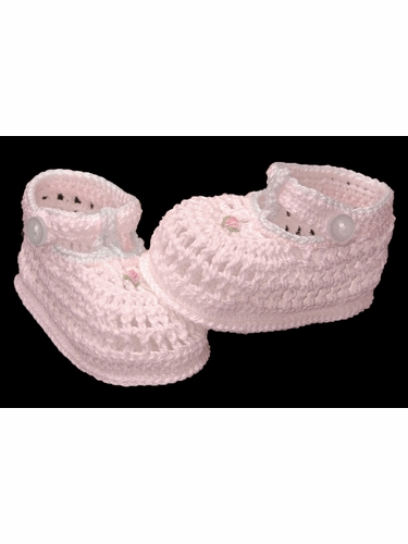 Petit Ami Pink Crochet Booties w/ Detailing & Strap