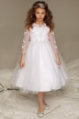 Petite Adele 326 Beaded Quarter Sleeve Communion Dress