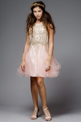 Petite Adele C3057-T Blush Embroidered Applique w/ Rhinestones Bodice & Tulle Skirt