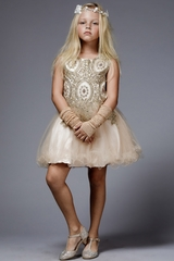 Petite Adele C3057-T  Champagne Embroidered Applique w/ Rhinestones Bodice & Tulle Skirt