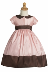 Pink/Brown Taffeta Spring Dress