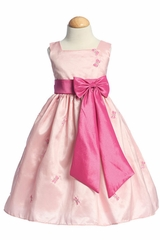 Pink Butterfly Accents on Taffeta Dress w/ Bow