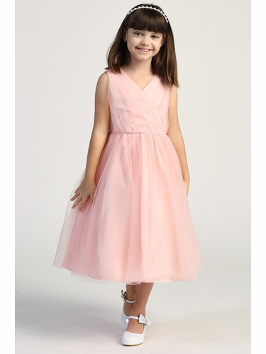 Pink Princess Pink Criss Cross Pleated Tulle Dress w/ Rhinestone Waist