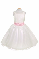 Pink Ribbon Sleeveless Flower Girl Dress