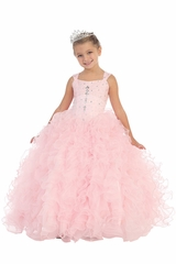 Pink Ruffle Pageant Dress w/ Jeweled Bodice