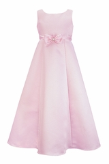 Pink Satin A-Line Flower Girl Dress