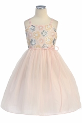 Pink Sequin Flower & Tulle Ballerina Dress