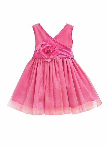 Pink Tulle Mesh Flower Girl Pageant Dress