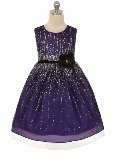 Purple Shimmering Holiday Dress w/ Velvet Flower Sash