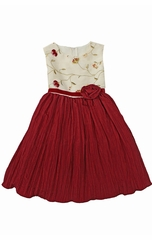 CLEARANCE: Red/Ivory Embroidered Crushed Taffeta