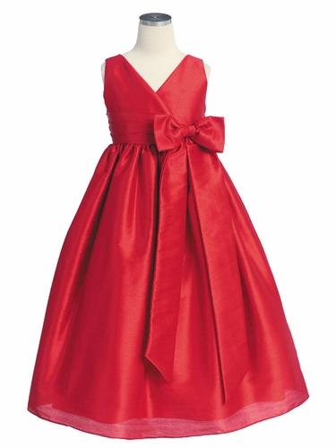 Red Polysilk V-Neck Bow Dress
