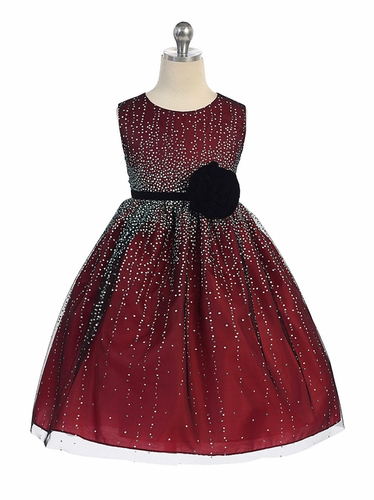 Red Shimmering Holiday Dress w/ Velvet Flower Sash