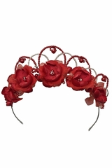 Swea Pea & Lilli UL8214 Red Floral & Beaded Head Wreath