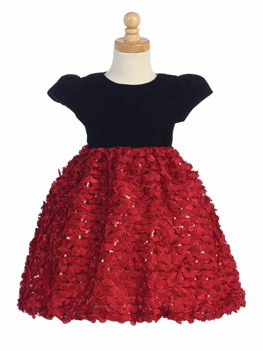 Black Velvet w/ Red Ribboned Tulle Dress