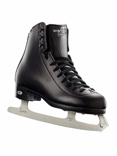 Riedell Ice Skates 19 Emerald Jr Boys Black Shoes w/ Luna Blade