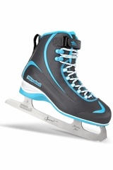 Riedell Ice Skates 615 Gray & Blue Boys Junior Shoes w/ Spiral Stainless Blade