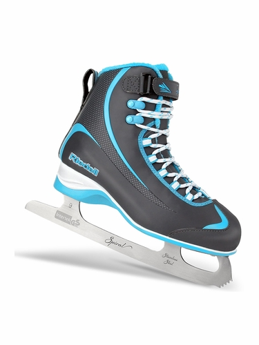 Riedell Ice Skates 625 Grey & Blue Mens Shoes w/ Spiral Stainless Blade