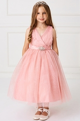 Rose Pink Glitter V Neck Tulle Dress w/ Rhinestone Brooch