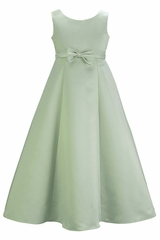Sage Satin A-Line Flower Girl Dress