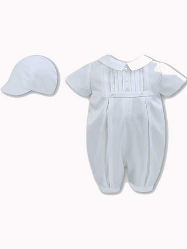 Sarah Louise 2228 White Boys Christening Romper & Cap