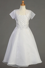 Shantung Bodice Communion Dress w/Organza Skirt & Bolero