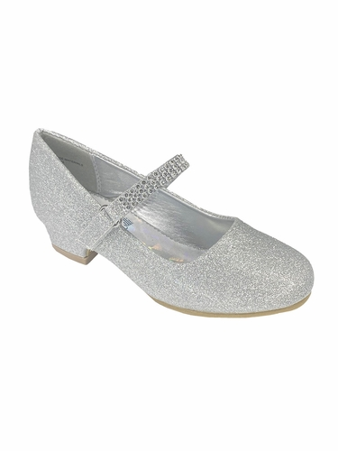 Silver Glitter Girls Low Heel Dress Shoe with Rhinestone Strap