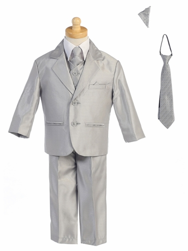Silver Two-Button Metallic Suit