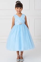 Sky Blue Glitter V Neck Tulle Dress w/ Rhinestone Brooch