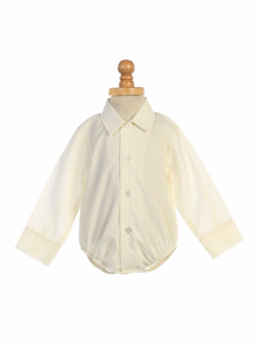Swea Pea & Lilli 805 Ivory Poly Cotton Collared Dress Shirt Onesie