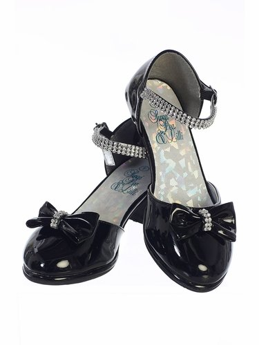 Swea Pea & Lilli Bella Black Shoe w/ Low Hill & Rhinestone Strap