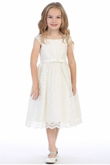 Swea Pea & Lilli BL309 Ivory Shiny Lace Overlay Dress