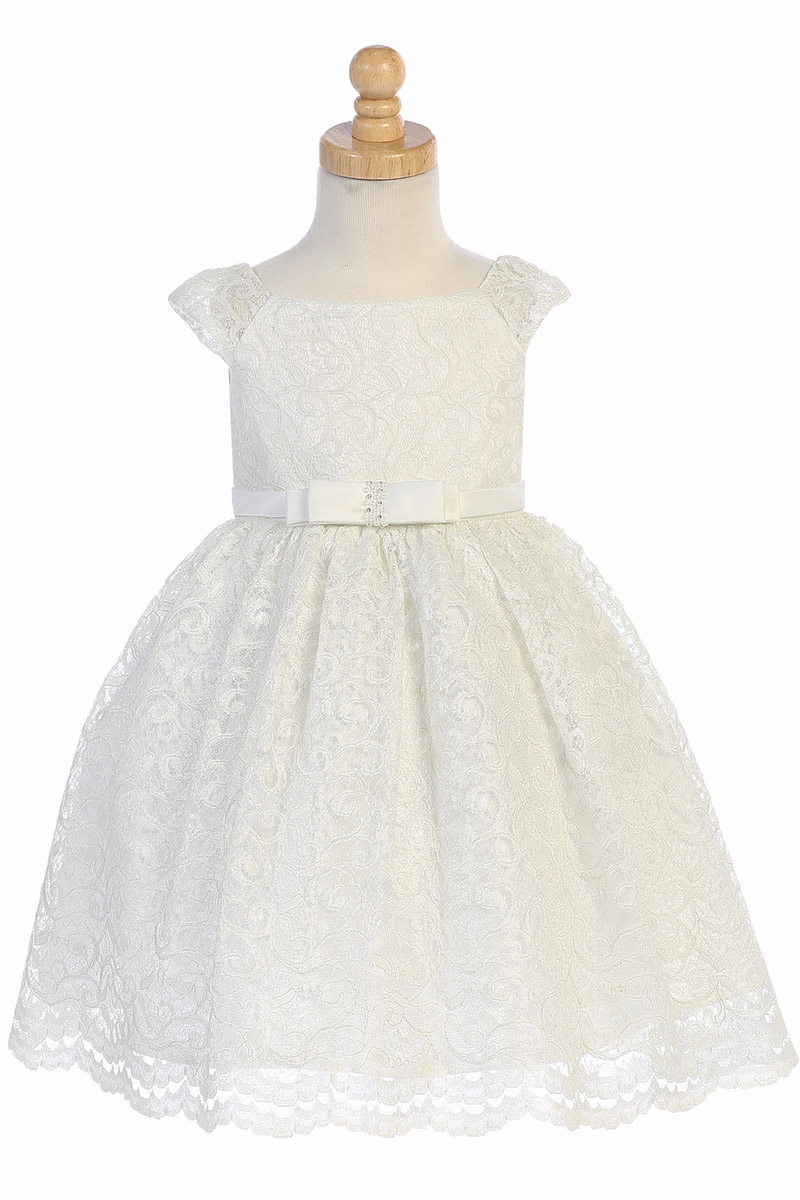 9a9b91a2d72 ... Swea Pea   Lilli BL309 Ivory Shiny Lace Overlay Dress. Click to Enlarge  Click to Enlarge ...