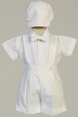 Swea Pea & Lilli Blake Boys Cotton Oxford Suspender Shorts Set