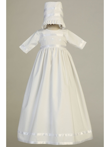 Swea Pea & Lilli Bridget White Cotton Long Gown w/ Embroidered Shamrocks
