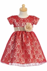 Swea Pea & Lilli C520 Red & Gold Lace w/ Shiny Satin Underlay
