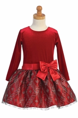 Swea Pea & Lilli C529 Red Velvet & Glitter Tulle Dress