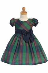 Swea Pea & Lilli C532 Green Plaid Dress w/ Bow