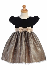 Swea Pea & Lilli C533 Black Velvet & Gold Glitter Tulle Dress