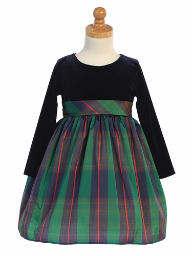 Swea Pea & Lilli C534 Green Long Sleeve Stretch Velvet w/ Plaid Skirt