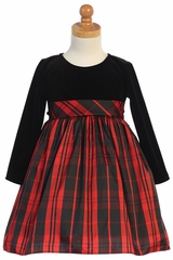 Swea Pea & Lilli C534 Red Long Sleeve Stretch Velvet w/ Plaid Skirt