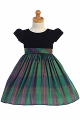 Swea Pea & Lilli C535 Green Cap Sleeve Black Velvet Dress w/ Plaid Skirt