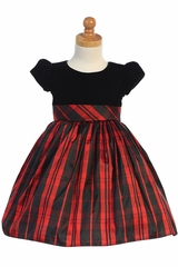 Swea Pea & Lilli C535 Red Cap Sleeve Black Velvet Dress w/ Plaid Skirt
