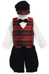 Swea Pea & Lilli C568 Red Plaid Vest & Velvet Knickers