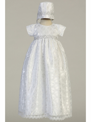 Swea Pea & Lilli Cassandra White Shiny Satin & Lace Christening Dress w/ Silver Waist Trim