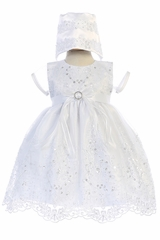 Swea Pea & Lilli Christening Organza Short Sleeve Dress w/ Beads & Sequins