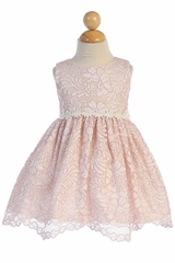 Swea Pea & Lilli M742 Blush Pink Lace With Floral Trim Dress